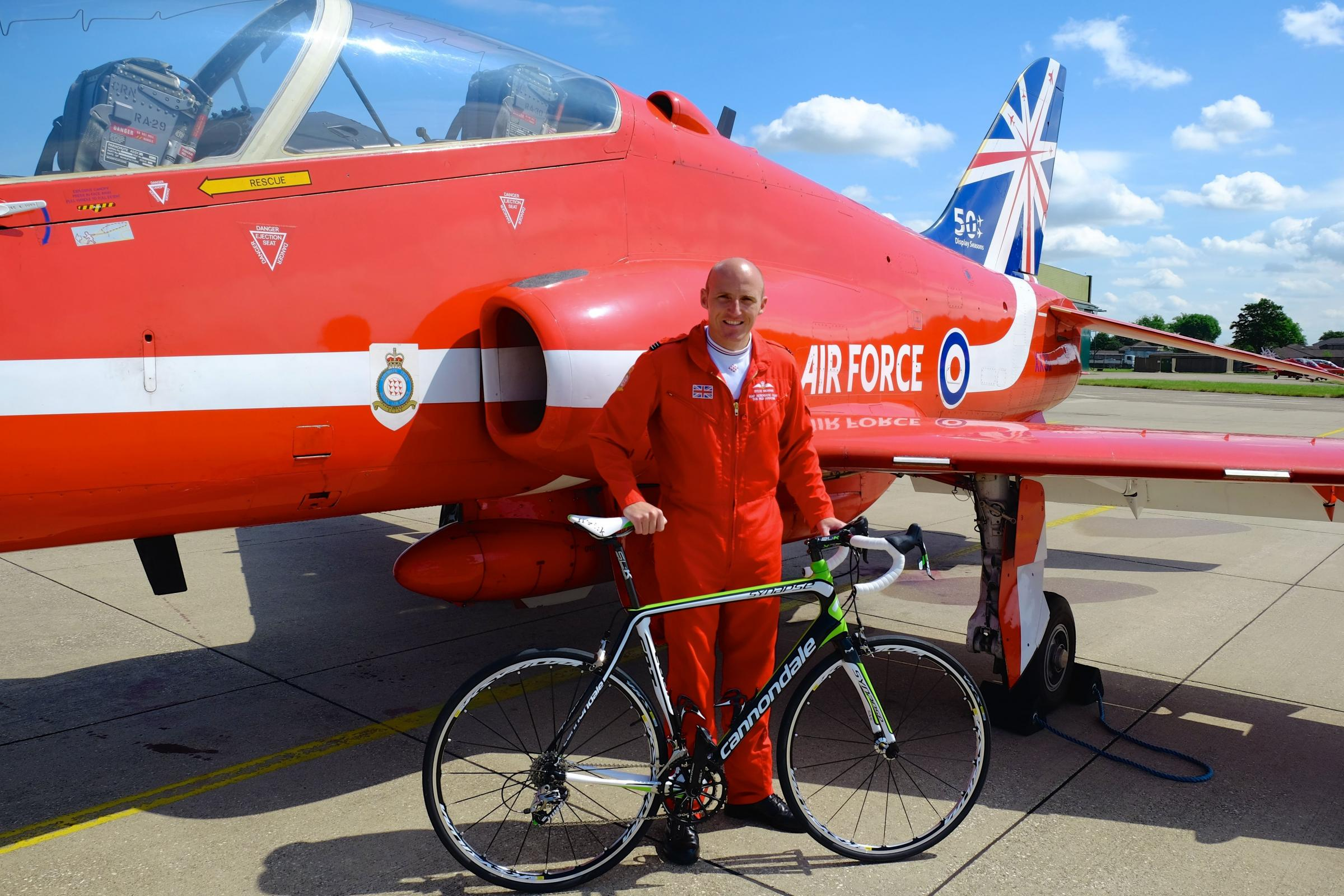 Red Arrows pilot returns to York to buy himself a special bike