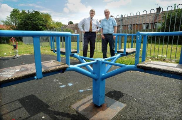 York Central MP Hugh Bayley, left, and Cllr Steve Burton in the play area, off Cornlands Road, that is going to be revamped