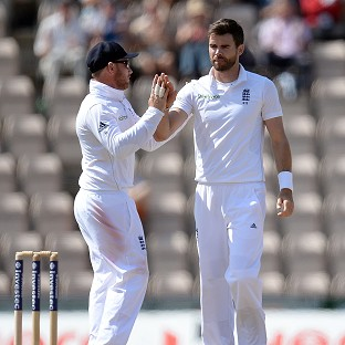 James Anderson, right, took two wickets on his birthday