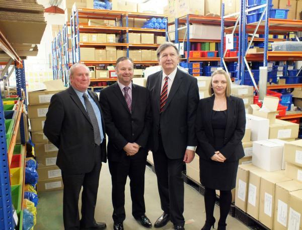 Sir Greg, second from right, with, left to right, Coun Andy Burton, Sean Smith and Angela Musson during the MP's visit to Detectamet at Pocklington