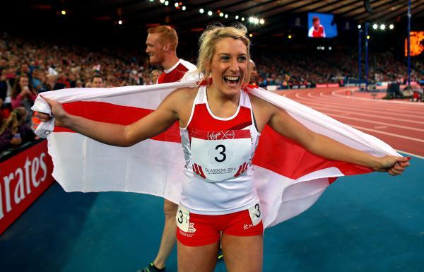 England's Jessica Taylor celebrates winning Bronze in the Women's Heptathlon at Hampden Park. Picture: David Davies/PA Wire