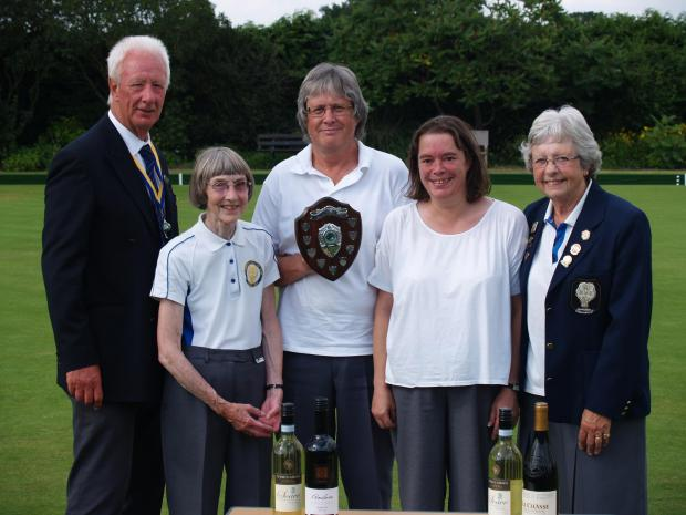 SHIELD OF HONOUR: Wigginton Bowling Club captain Michael Wadsworth, left, is pictured with Chairman and Captain's Day Shield winners, from left, Madge Cooper, John Graham and Sarah Agg, with chairman Jean Millar, right