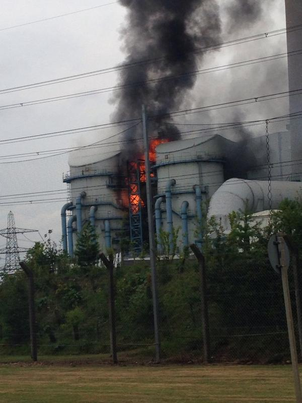 Huge fire at power station - partial collapse of tower - disruption to last months - 9 pics