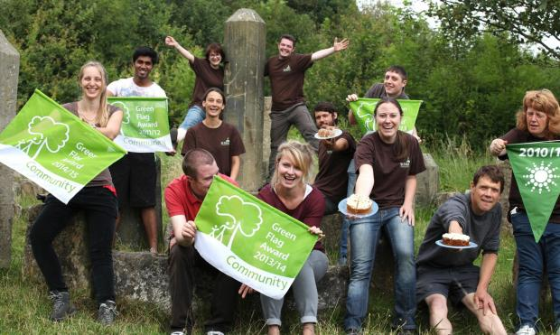 Staff and volunteers at St Nicholas Fields celebrate winning a Green Flag Award.       Picture: Jo Hughes