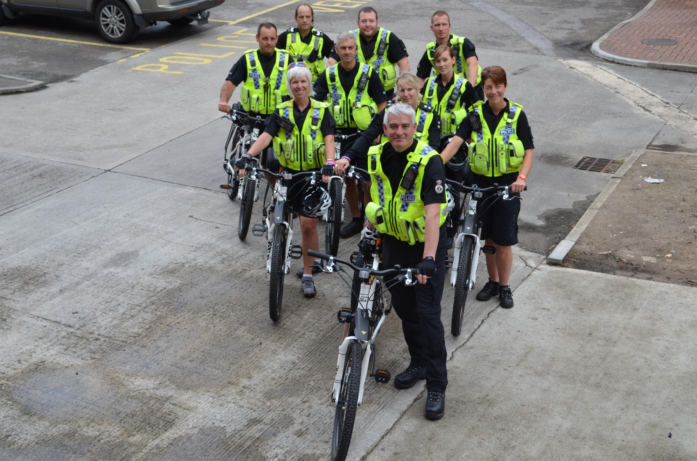 Chief Constable Dave Jones with the new team of cycling police officers