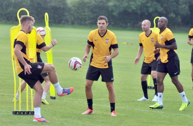York City midfielder Tom Platt, centre, is in line to start the season in the Minstermen engine room