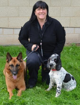 Tommy and Benson with their owner PC Catherine Midgley.