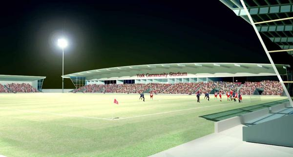 A computerised image of what the new Community Stadium might look like (although no confirmed designs for the new ground have yet been unveiled and so it probably won't look like this at all)