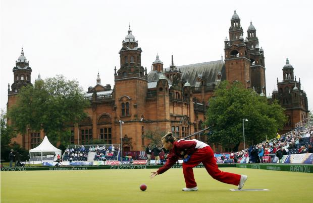 England skip Natalie Melmore in action in the Women's Pairs final at Kelvingrove Lawn Bowls Centre, during the 2014 Commonwealth Games in Glasgow.