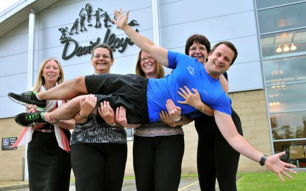 Fitness instructor Tim Purdy gets a lift as training comes to an end for, from left, Sue Mayman, Nicola Haigh, Nadia Jefferson-Brown and Megi Rychlikova from the Press at the David Lloyd gym in Hull Road