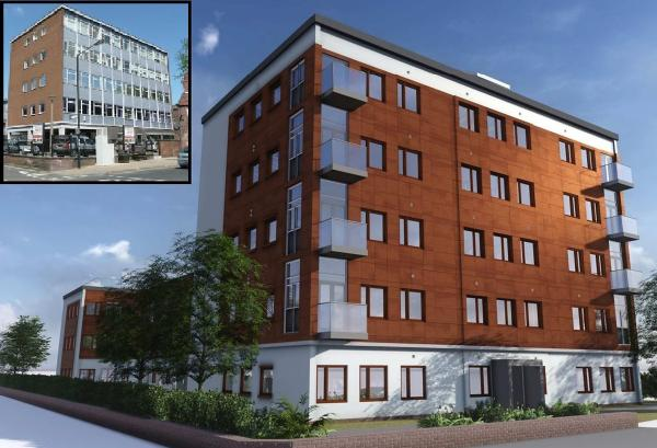 An artist's impression of the re-clad building and, inset, its current appearance.