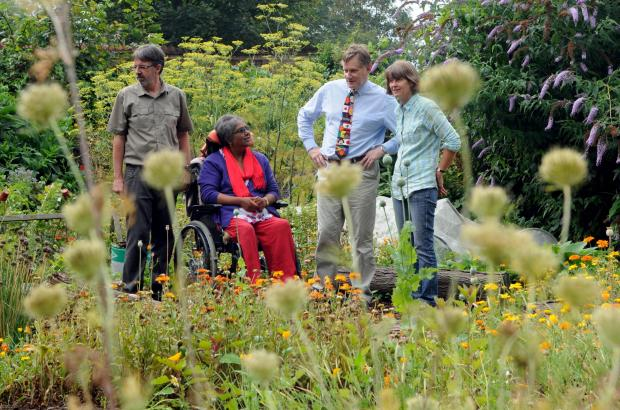 York Central Mp Hugh Bayley (third left), during his visit to YUMI allotments, with (from left) volunteers Ray and Danila Taylor and garden facilitator Helen Hayes.