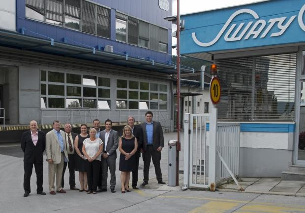 The senior management team celebrate abrasives supplier Abracs' 25th anniversary with a visit to one of their long-term European manufacturing partners