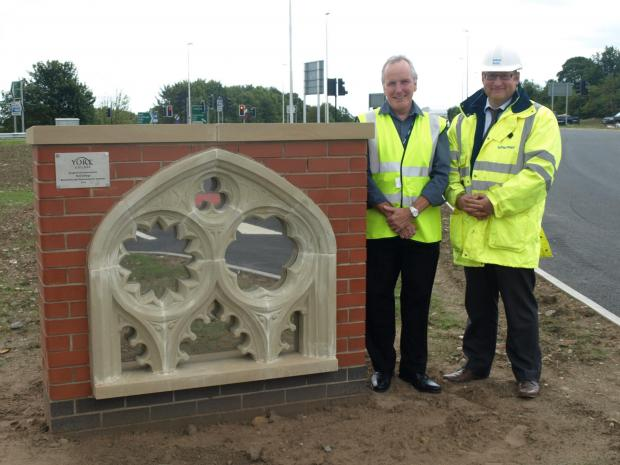 The sculpture made by students from York College and now in place at the Park&Ride site