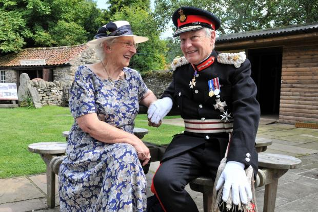 The Lord Lieutenant of North Yorkshire, Lord Crathorne, chats to former Land Army girl  Dorothy Taylor during his visit to Ryedale Folk Museum