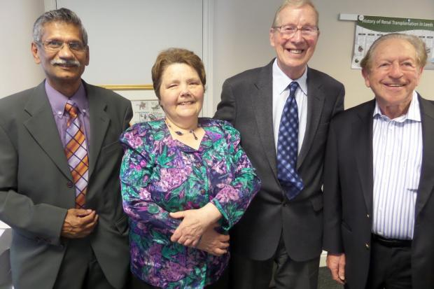 Kidney transplant recipient Ruth Wright with the donor, her father Mervyn Moorhead and surgeon Dr Stanley Rosen