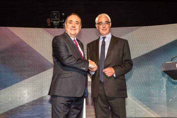 YES OR NO: Scotland's First Minister Alex Salmond and former Chancellor Alistair Darling, the leader of the pro-UK Better Together campaign, at a TV debate about the independence referendum