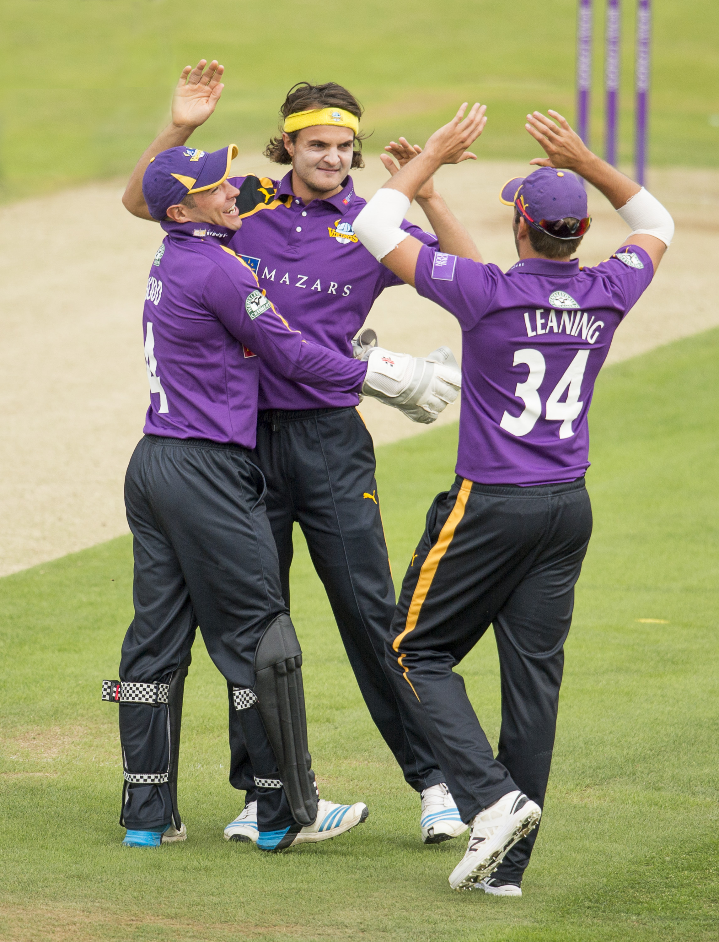 Yorkshire's Andrew Hodd, left, starred with the bat in the Royal London One-day Cup victory at Leicestershire, while Jack Brooks, centre, took two wickets and Jack Leaning, right, contributed runs