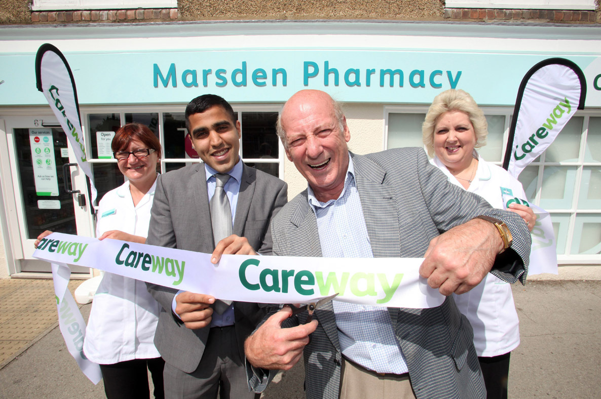 Cutting edge of health: Berwick Kaler cuts the ribbon with, from left, Tamara Taylor, pharmacy manager and pharmacist Khushal Morjaria and Gillian Rowsby