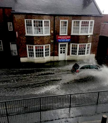Flooding in Front Street, Acomb. Picture: Trina Warriner