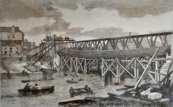 David Pearcy's engraving of the Lendal Bridge tragedy in 1861, when the iron bridge collapsed during construction, killing five people