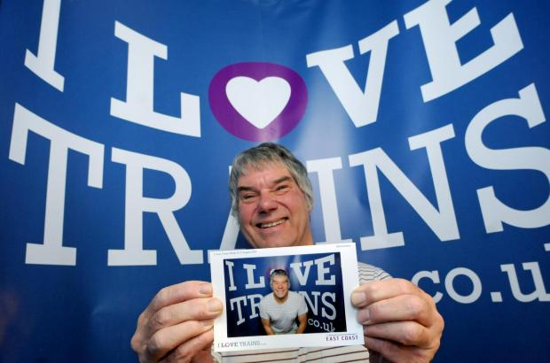 York trainspotter Nick Bielby in the I Love Trains photo-booth
