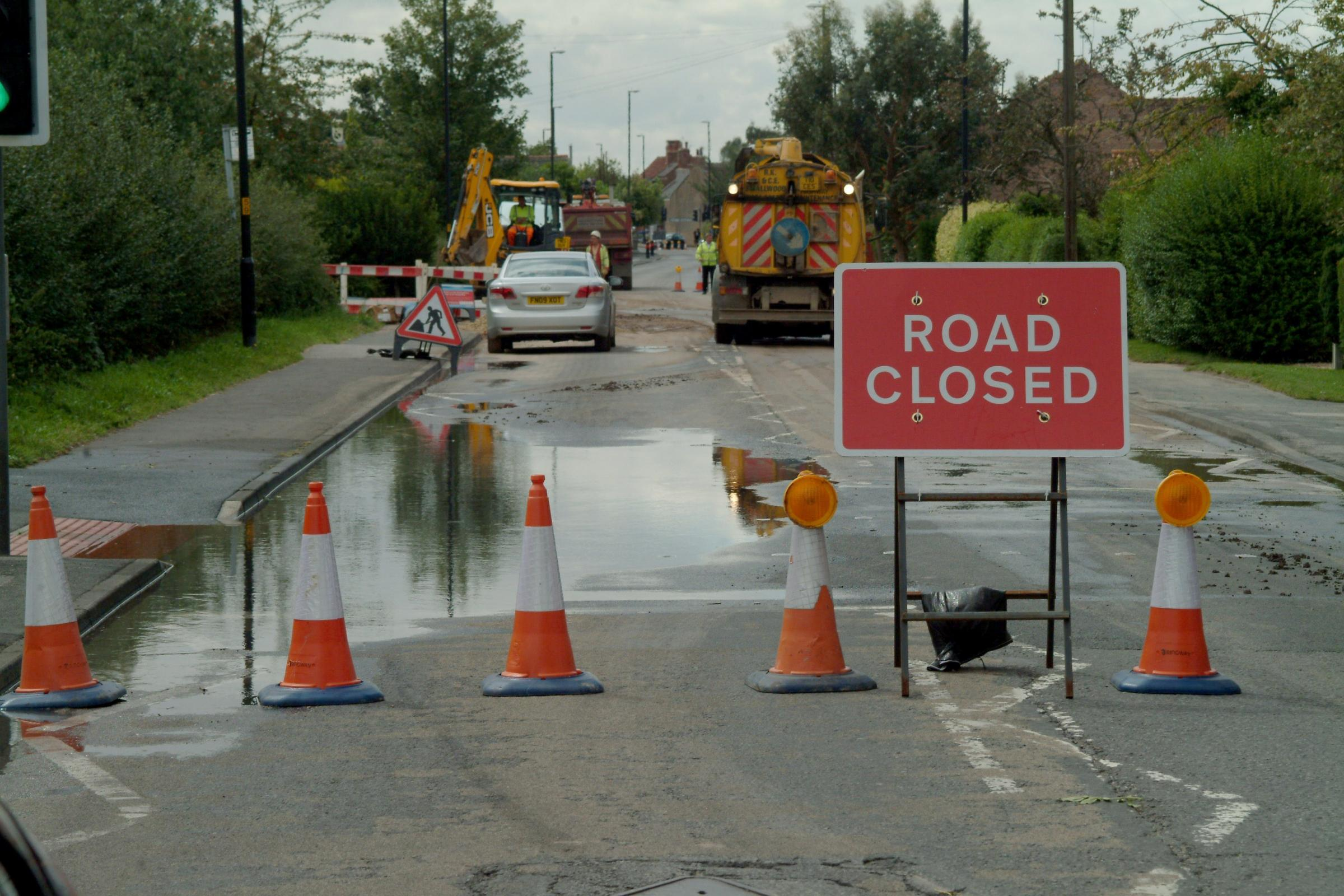 Burst water mains and collapsed sewer lead to closures of two main roads