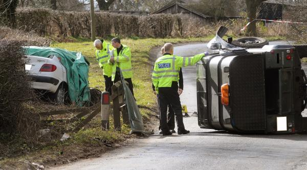 The scene of the crash on the road between Gate Helm