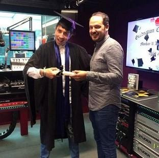 Nick Grimshaw got his degree result live on air (BBC Radio 1 Breakfast Show/Twitter)