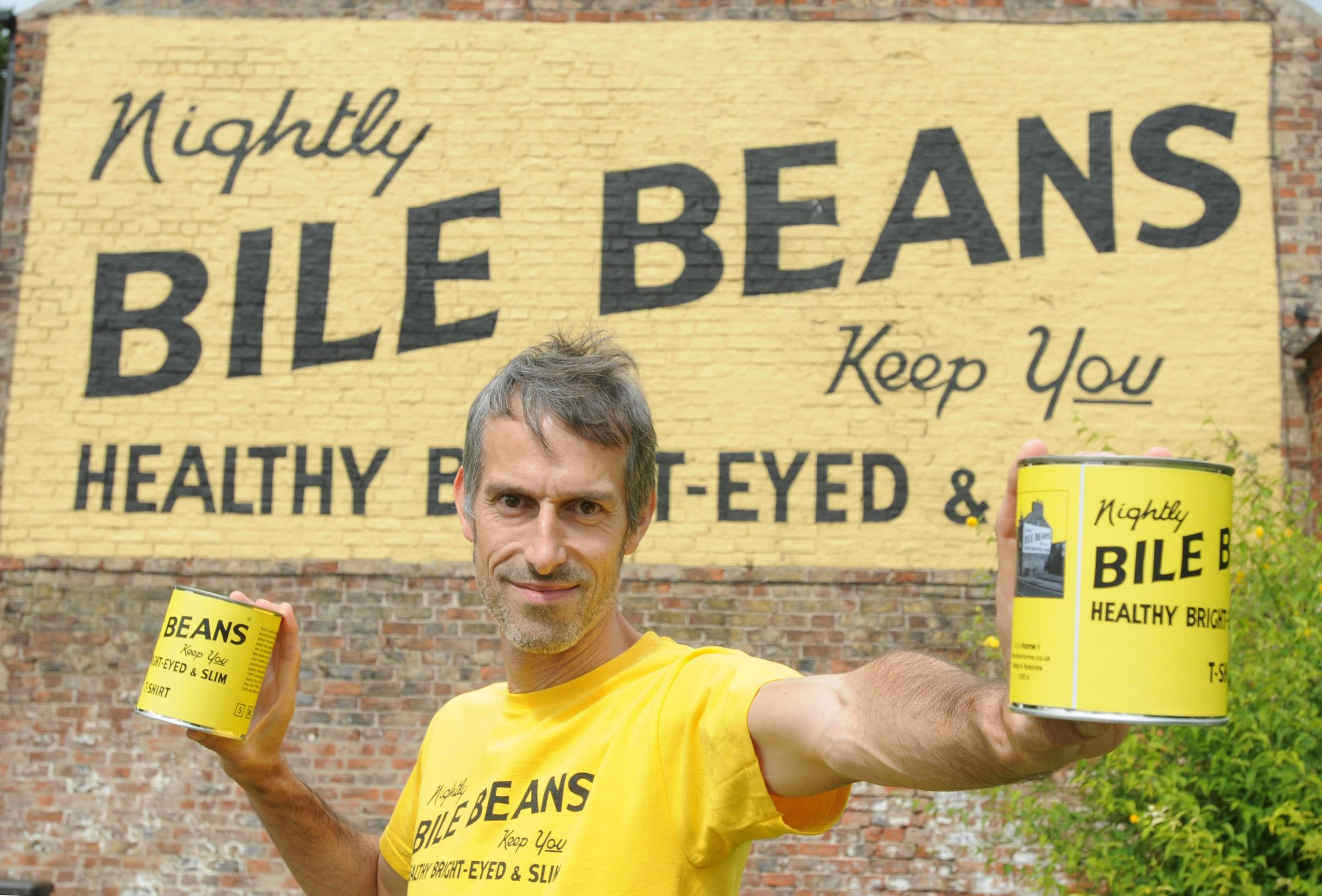 York's iconic Bile Beans advert reproduced on T-shirts
