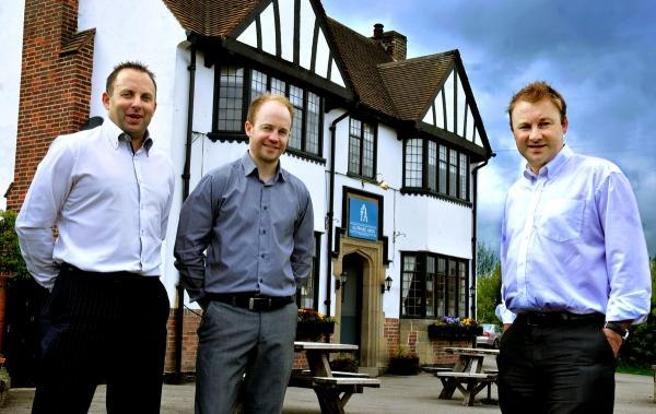 Pete Hardisty, centre, and his brothers Ian, left, and Andy, who have relaunched the Aldwark Arms