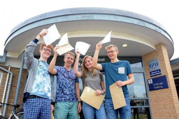 Fulford School pupils celebrate their success, from left, Tom Aldridge, Elliot Clare, Annabelle Orne and Matt Ensor