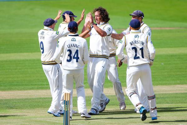 Yorkshire's Ryan Sidebottom celebrates a Sussex wicket at Scarborough