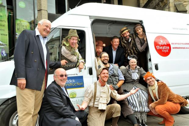 Members of the cast of Wind In The Willows are joined by Richard France from the Oakdale Group, centre, and Paul Caddick, left, and Keith Bradley from the Caddick Group, as the new van is handed over.