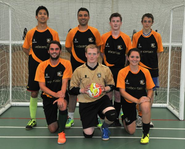 The University of York's Futsal team are pictured, back row from left, Mahiko Konishi, Junior Roberti, Jamie Hallas and Curtis Patterson. Front row, John Prosser, Jonny Sim and Ellie Whittaker