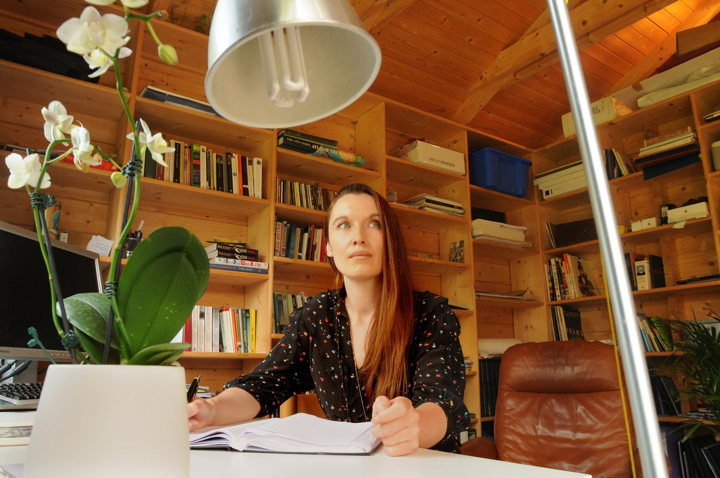 York author Nuala Casey in her office in the garden of her Heslington Lane home.