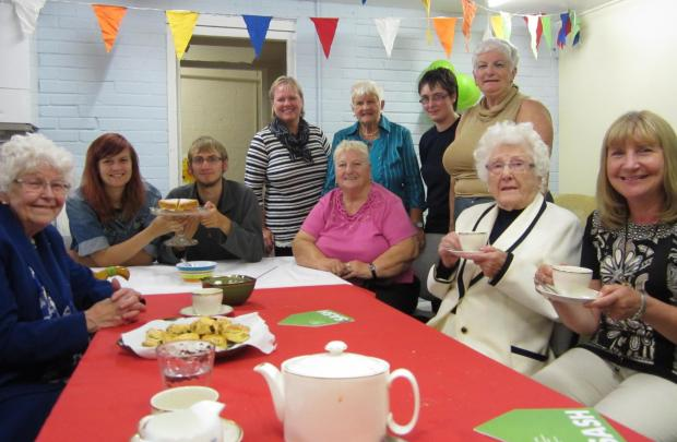Pictured at the afternoon tea are: Betty, a guest, Emily and Daniel, from SASH, Hazel, a volunteer driver, Anna and Betty, guests, Emma, from SASH, Janet, a volunteer driver, Vi, a guest, and Andrea, a volunteer driver