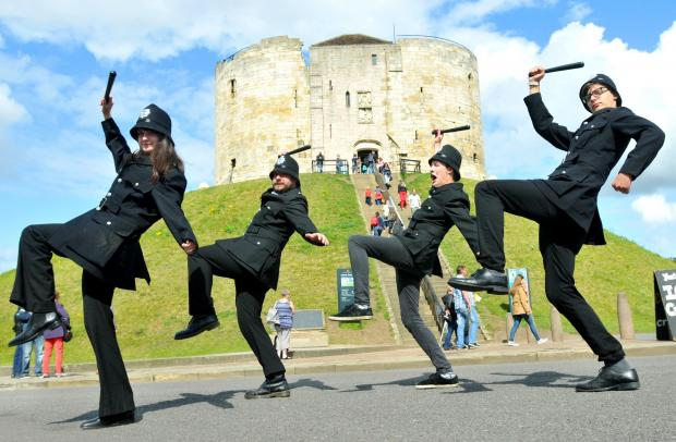 The Keystone  Cops arrive in York on their promotional tour for the Galtres Festival this weekend   (L-R), Robyn McEwan, Max McEwan, Sam Brewin and Mikey Donnelly