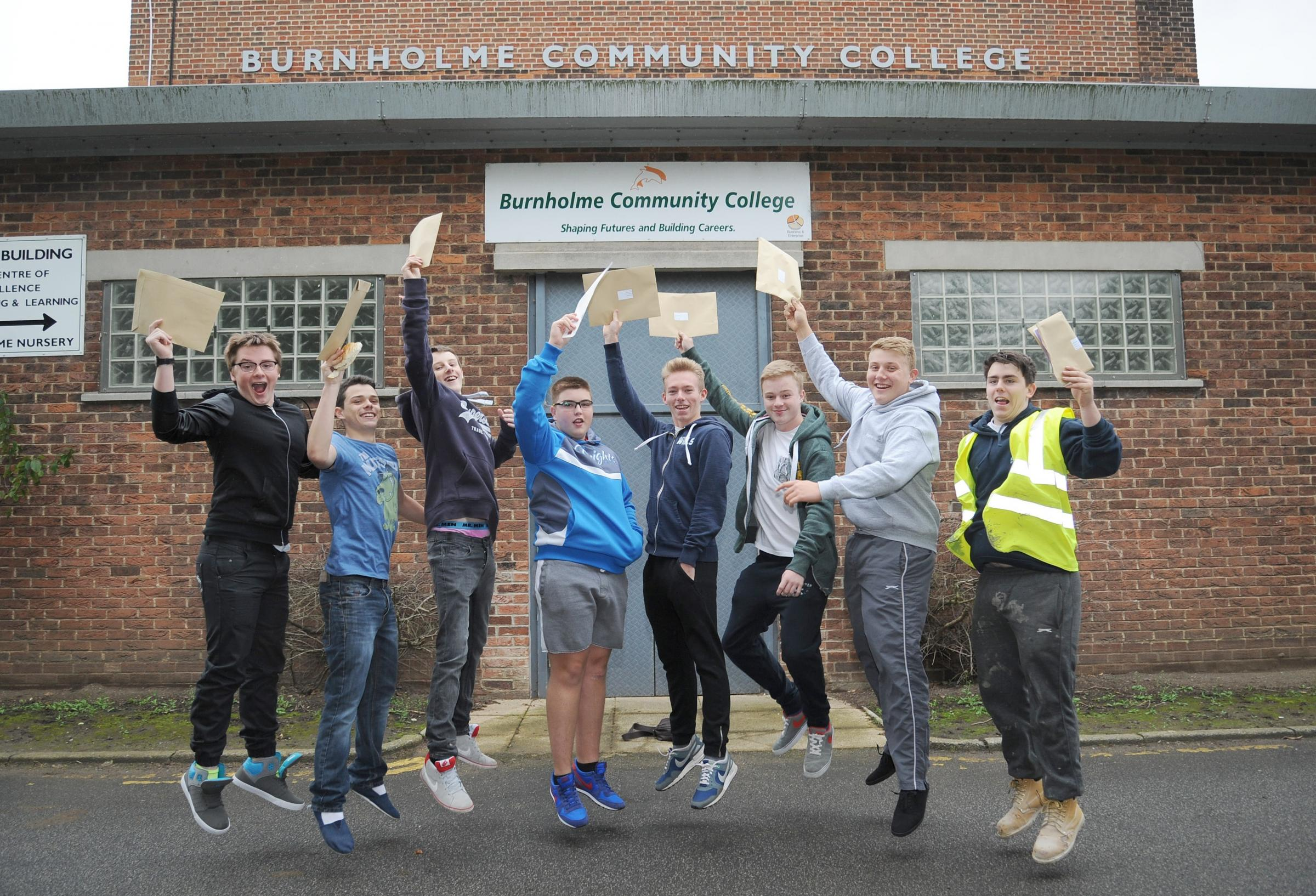 Jack Harrington, Jack Longstaff, Tristan Trown, George Leatt, Declan Moon, Joe Baldock, Eoin Manson and Arran Naismith celebrate their GCSE results at Burnholme Community College
