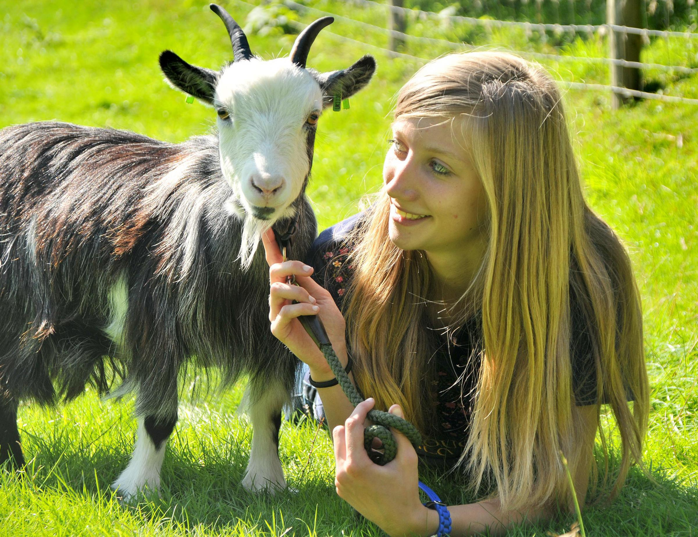 April Smith with her pygmy goat Kira at last year's Farndale Show