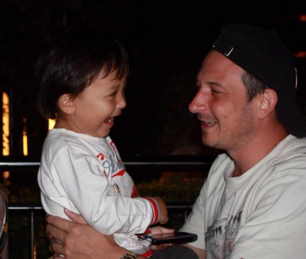 Chris Moulds with his son Nicholas before the accident