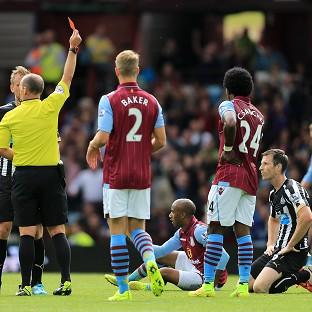 Mike Williamson, right, sees red at Villa Park