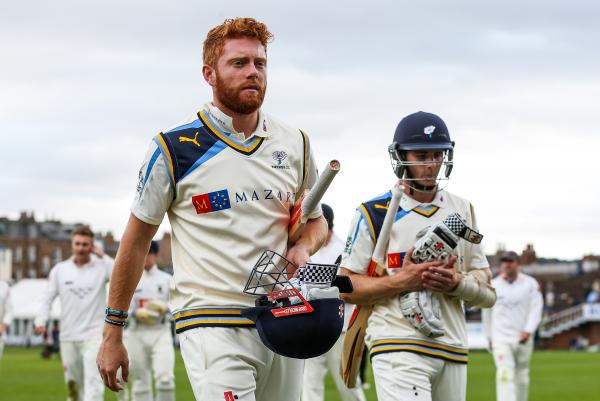 Yorkshire's Jonny Bairstow, left, during the recent  victory over Mark Robinson's Sussex at Scarborough. Picture: Alex Whitehead/SWpix.com
