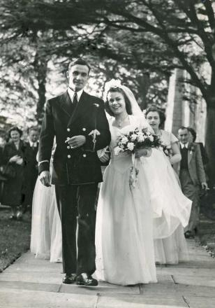 Bryan Collinson on his wedding day with Romey