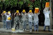 Staff at the Punch Bowl take part in the Ice Bucket craze