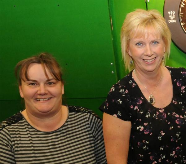 Michelle Britton, above left, and Tracey Farmeary, who were in direct opposition in a York John Smith's Ladies Darts League clash