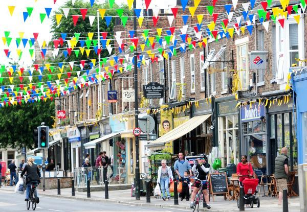 Bishopthorpe Road decked out with bunting for the arrival of  the Tour de France