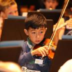 York Press: A Violinist among 160 children in the Yorchestra Holiday Orchestra at rehearsals in the Jack Lyon Concert Hall at York University. Pic by Jo Hughes (9757353)