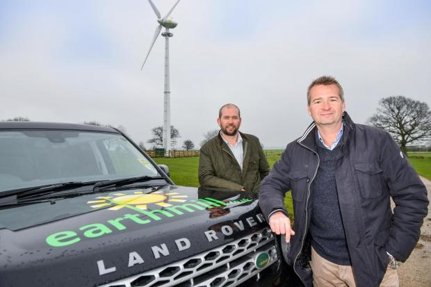 Earthmill directors Steve Milner, left, and Mark Woodward at the site of a turbine in Sicklinghall, near Wetherby