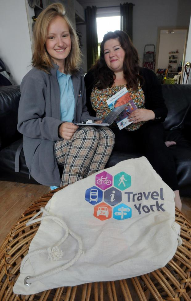 York Press: Hazel Anderson (left) giving i-Travel advice to Helen Brown at her home in Earlsborough Terrace. Pic: Mike Tipping (9765179)